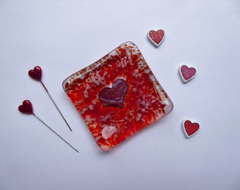 Earring ring dish red heart fused glass birthday christmas childs teachers bridesmaids gift Mothers Day stocking filler wedding favour