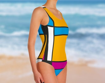 Tribute to Mondrian No3, One-Piece Swimsuit
