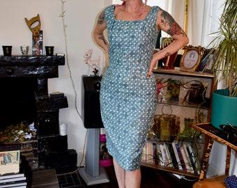 "1950s- 60s Original Blue Spot Print Cotton Wiggle Dress sz 36""sz 10 UK"