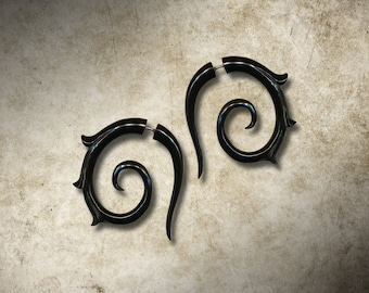 Lisbeth Spirals, Girl With The Dragon Tattoo, Fake Gauge, Horn Earrings, Split, Cheaters, Plug, Organic, Handmade - H21