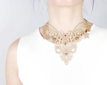 SALE beige lace bib choker - steampunk necklace earthy - fall fashion gothic art deco jewelry - gift for her