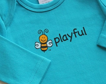Organic Baby Bodysuit | Long Sleeve | Turquoise Blue | Screened 2-Sides | 4 Images: bee playful | bee joyful | bee happy | abc | 3-6M, 6-12M