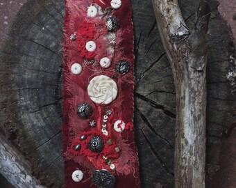 Boho textile cuff | red velvet, cuff,  red boho cuff, shabby cuff, tattered textile cuff, fabric cuff, assemblage jewelry, bohemian cuff