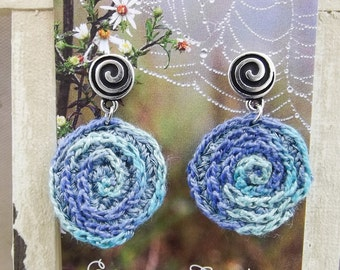 Tone on Tone Crochet Embroidered Spiral/Starburst Drop Earrings in Blues and Greens - One of a Kind