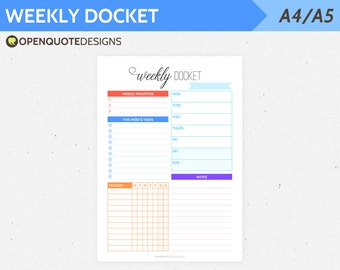 Filofax A5 Filofax Inserts, Printable Weekly Planner, Weekly Docket, Week on One Page WO1P, A5 Inserts, Planner Pages