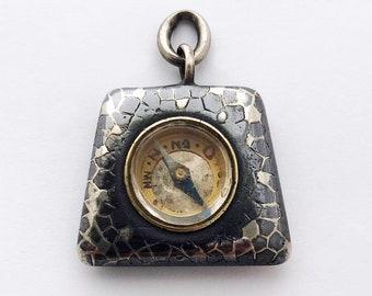 Miniature German Compass Charm / Niello Silver Compass Pendant