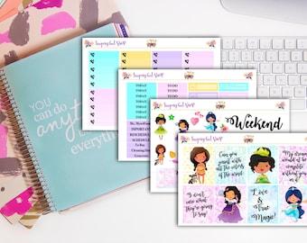 "Disney Princess ""Tiana,Esmerlada,Jasmine and Pocahontas"" Planner Sticker Kit"