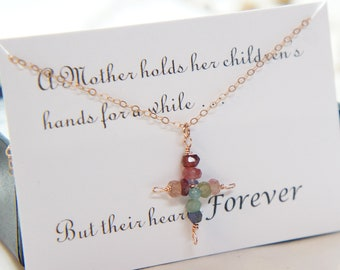 Gemstone Cross Necklace Religious Gift for Mom Rose Gold Necklace Beaded Necklace Mothers Day Gift Card SET Dainty Necklace Gift for Her