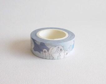 Polar bear washi tape, Bear washi tape, Animal washi tape, Washi paper, Washi masking tape, Washi paper tape, Blue washi tape