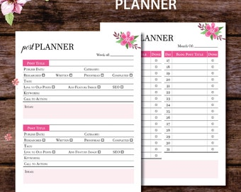 Blog Post Planner, Blog Post Organizer, Blog Post Schedule, Blog Post Ideas, Blogging Planner, Blog Planner, Filofax a5, A4 A5 Letter Size