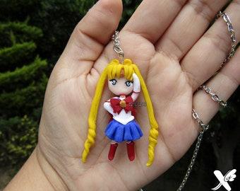 Sailor Moon Necklace||Usagi Tsukino||Serena||Chibi||Anime||Kawaii|Seifuku||Magic girl||Polymer clay||shoujo