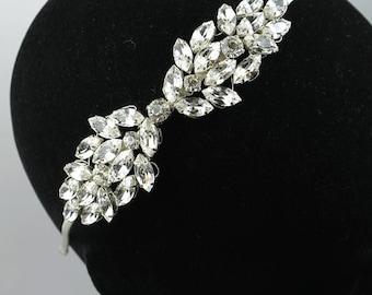 Bridal Headpiece - crystal headpiece - crystal bridal Tiara -  bridal headband wedding headdress vintage inspired  - wedding