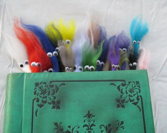 Felted Bookworm Bookmark. Desk buddy. Cute Gift. Funny. Any colour. Googly eyed.
