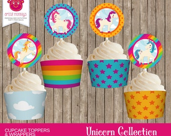 Instant Download Unicorn Cupcake Toppers and Wrappers