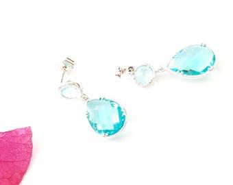 March Birthstone Aquamarine Silver Teardrop Earrings, Aquamarine Silver Dangle Earrings, March Birthstone Earrings, Bridesmaid Earrings