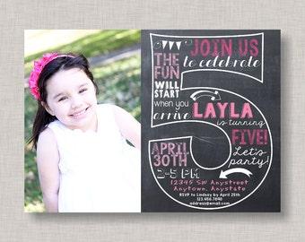 Fifth Birthday Invitation, 5th Birthday Invitation, Girl Birthday Invitation, Photo Invitation, 5th, Number 5, Fifth Birthday
