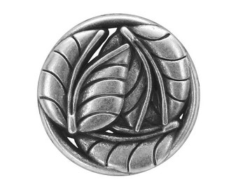 3 Leaves 7/8 inch ( 23 mm )  Metal Buttons Antique Silver Color