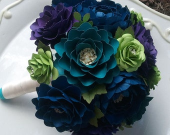 Paper Flower Bouquet - Wedding - Bride or Bridesmaid - Jewel Tones - Custom Made - Any Color