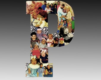 Babys First Year Photo Collage, Photomontage, Monthly Baby Photos, Letter Art,  Baby Milestone Photos