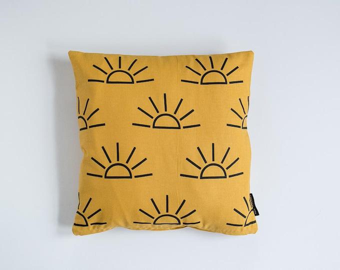 Sunrise Print Pillow - Mustard & Black - 16x16