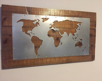 World Map plasma cut wall art