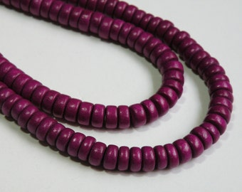 Plum Purple wood beads rondelle bright Cheesewood 8x4mm eco-friendly full strand 9579NB