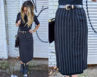 Vintage Black Pencil Skirt with White Pinstripes, Finity,  Size 6