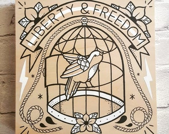 Liberty & Freedom: Wood Painting (Inspired by Rancid)