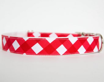 Gingham Dog Collar in Red