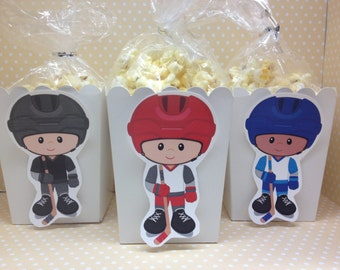 Hockey Boys Party Popcorn or Favor Boxes - Set of 10