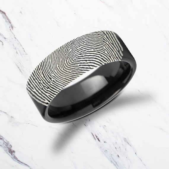 Actual Fingerprint Ring Black Tungsten Carbide Engraved Wedding Band Flat and Brushed - 4mm to 12mm Available - Lifetime Size Exchanges