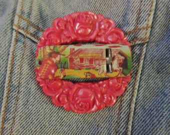 OOAK Western House on the Prairie Tin Whistle Brooch