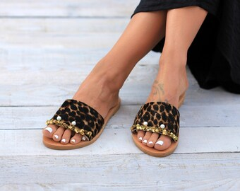 "Pony hair leather, Greek genuine leather sandals, Handcrafted sandals, Slides, ""Jackie Brown"" sandals"