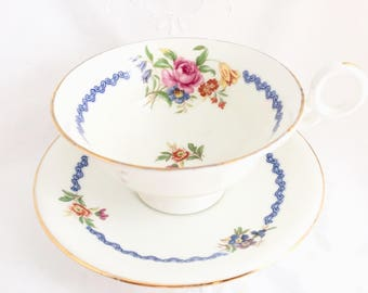 Radfords Crown China Pink Rose Floral Tea Cup and Saucer, Blue Scrolls, 1930s Bone China