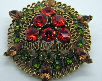 Vintage  Lisner Brooch Red Green Amber Colour Sparkling Rhinestones Christmas Colours Tiered  Domed  Gold Tone