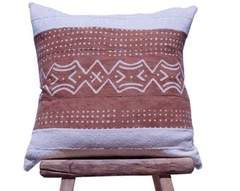 """Authentic White African Mudcloth with Mudcloth Patterned Stripe 23"""" x 23"""""""