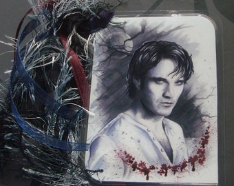 Bill Compton - True Blood Traditional Art Watercolor Painting - Laminated bookmark with ribbons