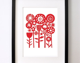 Red Summer Garden - Signed Open Edition Giclee Print From an Original Paper Cut