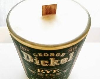 Repurposed Dickel Rye Whiskey bottle candle {28oz}