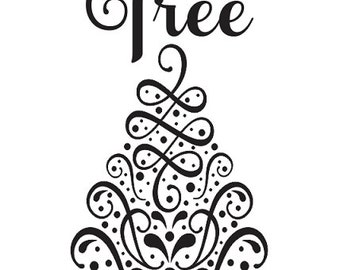 "Primitive Winter/Christmas/Holiday STENCIL**Oh Christmas Tree** 12""x24"" for Painting Signs, Airbrush, Crafts, Wall Art"