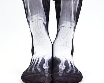 Samson® X-Ray Sublimation Hand Printed Socks Skeleton Radiation Medical Leg Bones Quality Print UK