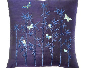 Butterflies & Bamboo cushion, blues and silver on navy dupion