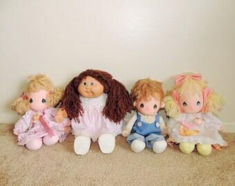 Vintage Precious Moments Dolls, 80's Collectible Precious Moments Dolls, Cabbage Patch Doll, Vintage Doll Collection, Kids Toys Memorabilia