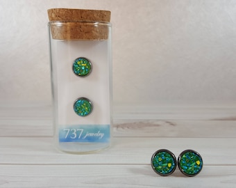 Green Druzy Earrings, Emerald Green Druzy Stud Earrings, Green Druzy Stud, Emerald Green Druzy, Green Faux Druzy, 8mm Emerald Green Druzy