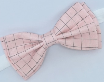 Pink Gray Bow Tie, Pink Bow Tie, Mens Bow Tie, Boys Bow Tie, Toddler Bow Tie, Ring Bearer Bow Tie, Pre-tied Bow Tie, Pale Pink Bow Tie