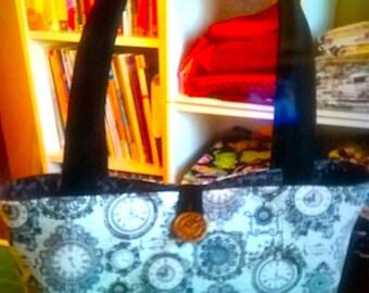 Handcrafted, Clocks 1 handbag, knitting bag, purse