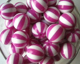 CLEARANCE Magenta Striped Bead, 20mm Beach Ball Bead, 10 pcs Striped Gumball Bead, Chunky Watermelon Bead, Bubblegum Bead, Necklace Bead