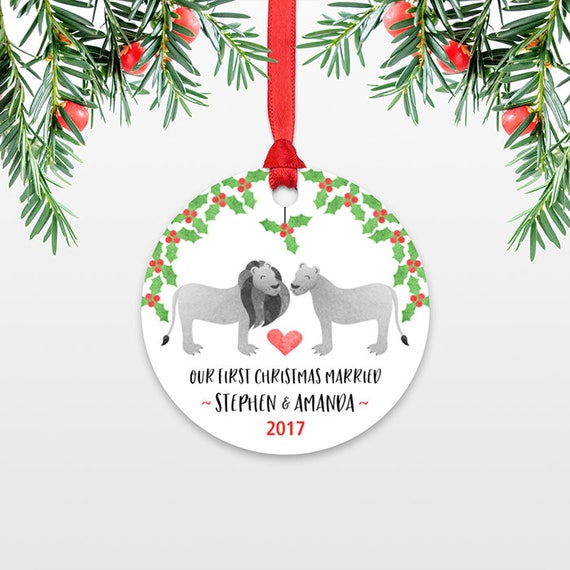 Lion Couple First Christmas Ornament Personalized, Our First Christmas Married, 1st First Christmas Engaged, First Christmas Together