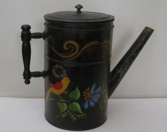 Vintage Tole Painted Tin Coffee Pot - Toleware