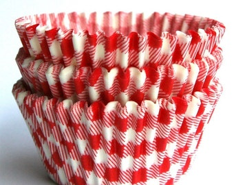 Red Gingham Cupcake Liners, Red Plaid Cupcake Liners, Summer Picnic Gingham Cupcake Liners (50)